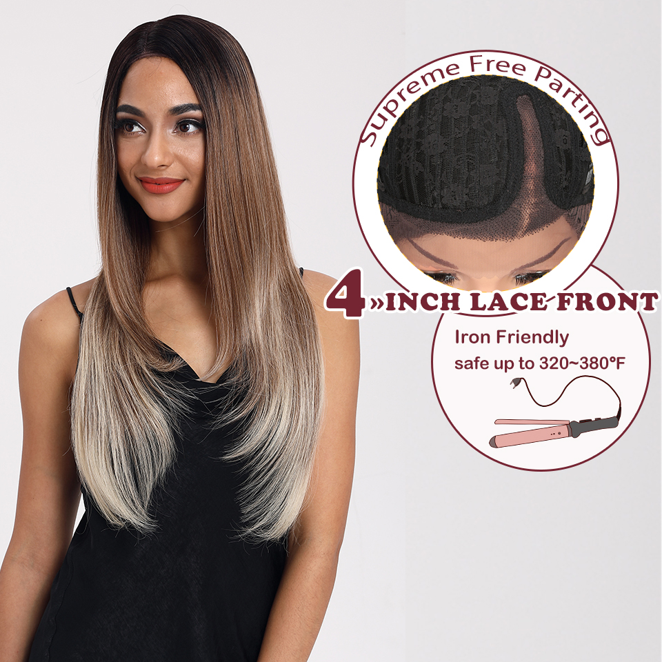 Magic Straight Hair 28 Inch Synthetic Lace Front Hair Wigs For Black Women Ombre Blonde 613 White Wigs For Women Heat Resistant