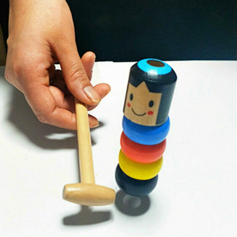 Folk Craft Game Baby Early Childhood Blocks Toys Wooden Little Puppet Magic Immortal Daruma Best Birthday Christmas Gift For Kid