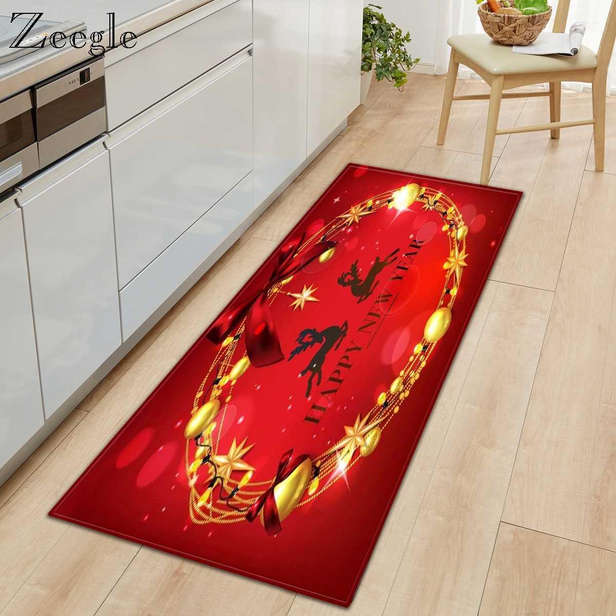 Picture of: Zeegle Christmas Kitchen Mat Modern Area Rug Long Floor Mat Carpet Printed Entrance Doormat Anti Slip Doormat Bedroom Foot Rug Carpet Aliexpress