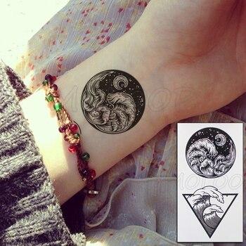 Tattoo Sticker Body Art Black White Drawing Little Element planet sun moon star Water Transfer Temporary Fake tatto flash tatoo 5