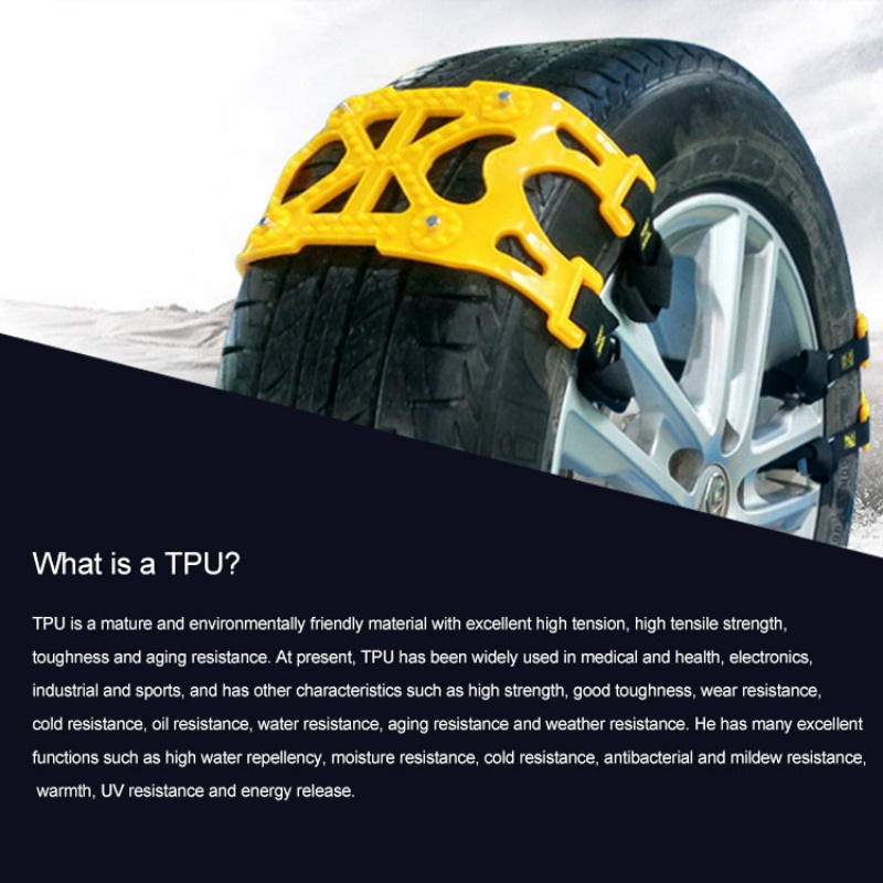 6Pcs Car Snow Tire Wheel TPU Anti skid Chains Belt for Two Tires Truck Off Road SUV Emergency Anti Skid Mud Snow Survival Tracti - 5