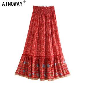 Image 1 - בציר שיק נשים אדום פרחוני הדפסת החוף בוהמי חצאית גבוהה אלסטי מותניים זהורית כותנה Boho מקסי חצאיות Femme