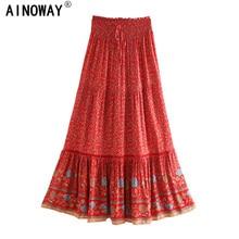 Vintage شيك المرأة الأحمر الأزهار طباعة شاطئ البوهيمي تنورة عالية مرونة الخصر رايون القطن بوهو تنانير طويلة فام