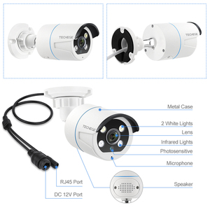 Image 2 - Techege 8CH 2MP POE AI Cameras System Two way Audio Human detection Metal Waterproof Outdoor Video Camera CCTV Camera System