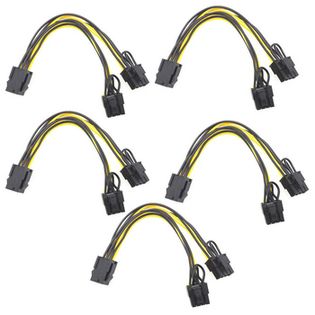 PCI-E 6-pin do Dual 6 + 2-pin (6-pin/8-pin) kabel Power Splitter karta graficzna 6Pin do podwójnego 8Pin PCIE PCI Express kabel zasilający