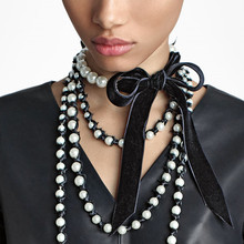 European And American-Style Fashion Jewelry Cool Free Exaggerated Necklace Pearl Fleece Combination Bow Choker Necklace stylish faux pearl bow flower lace choker necklace