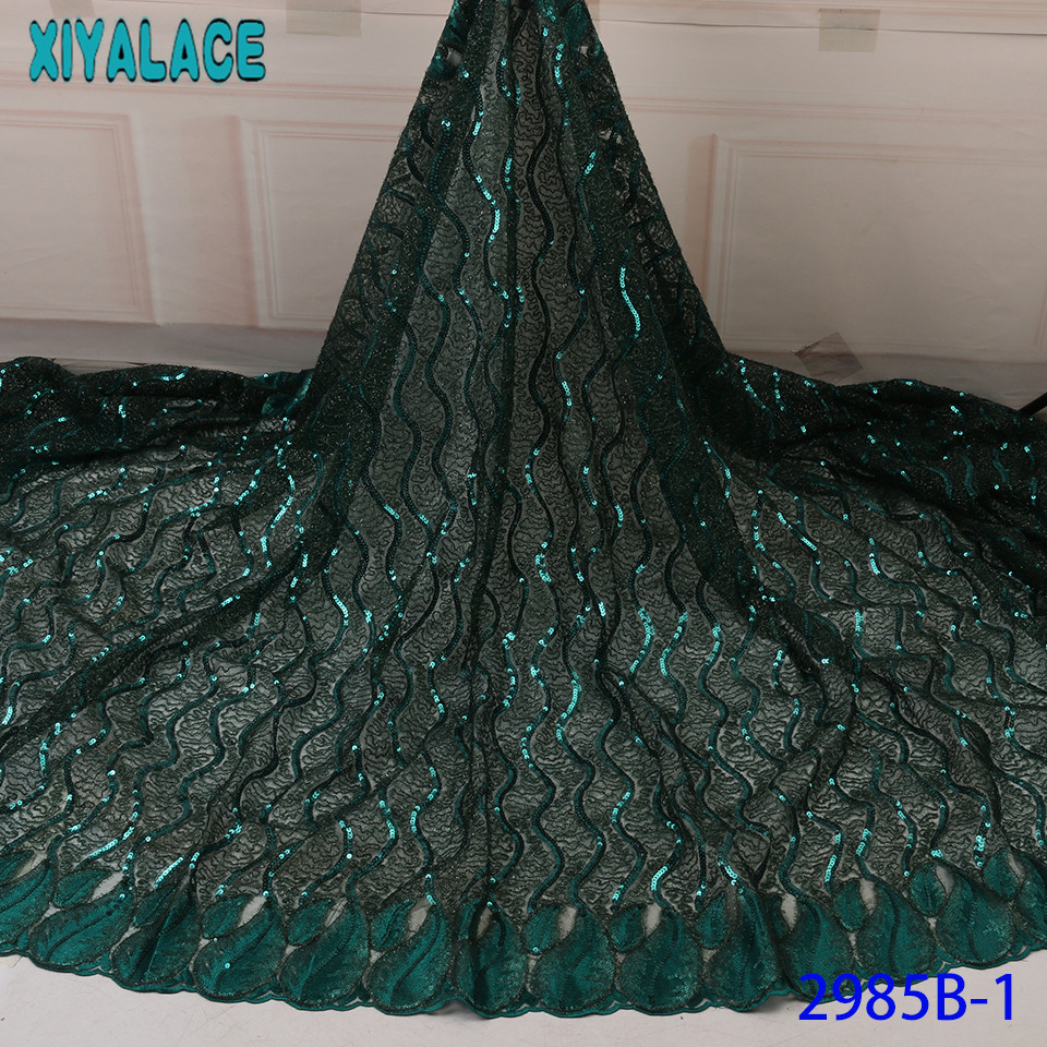 Popular Sequins Lace Fabrics French Embroidered Lace Fabric High Quality Sequence Tulle Fabrics Nigerian Net Lace KS2985B