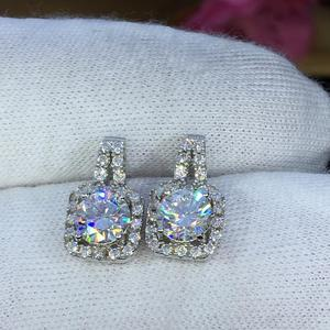 Image 4 - earrings set Moissanite Cut Total 1.00ct retro earings fashion jewelry 2020 aesthetic Moissanite earrings for women