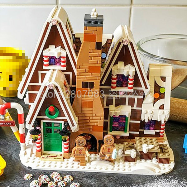 J78001 New Listing Movie Series Gingerbread House Building Blocks 1477pcs Brick Education Toys Compatible Movie 10267