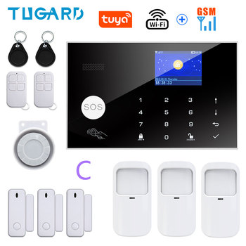 Tugard Tuya Wifi Gsm Home Burglar Security Alarm System 433MHz Apps Control LCD Touch Keyboard 11 Languages Wireless Alarm Kit 10