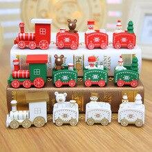 2020 mini trem de natal de madeira conjunto decoração presente trem de natal conjuntos modelo de trem de madeira veículo ano novo brinquedos de natal para crianças