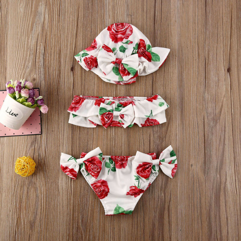 0-24 Months Newborn Girls Swimsuits 3pcs Set 2020 Summer Baby Girl Bikini Set Red Blue Floral Print Swimsuit Girls Swimming Suit