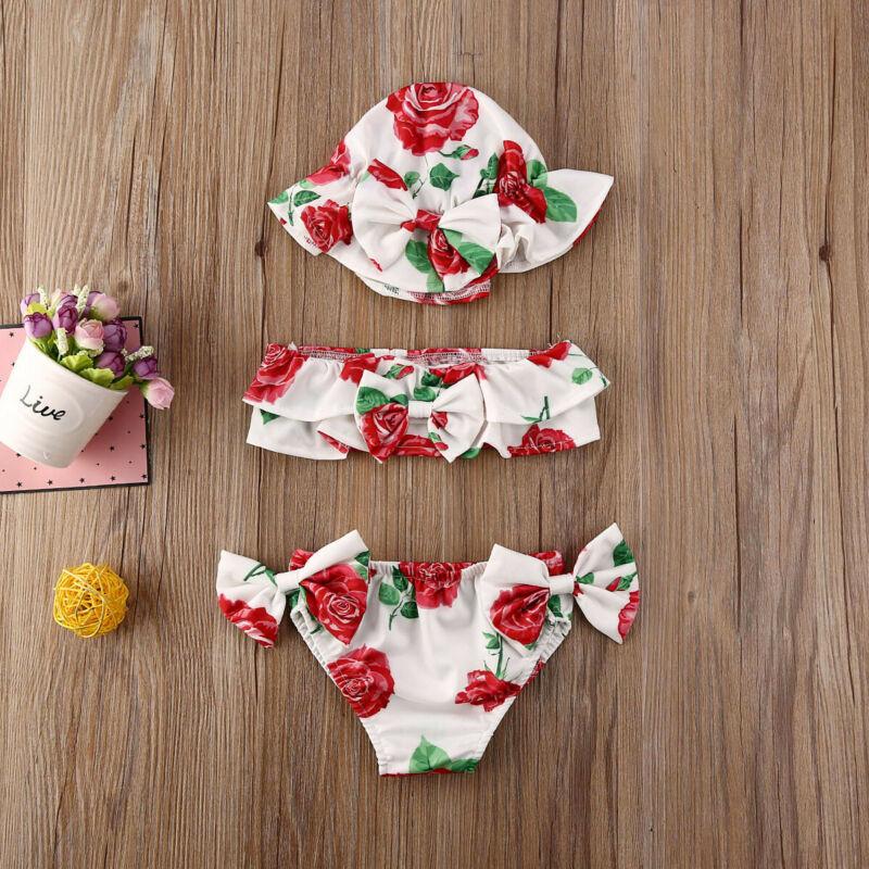 0-24 Months Newborn Girls Swimsuits 3pcs Set 2020 Summer Baby Girl Bikini Set Red Blue Floral Print Swimsuit Girls Swimming Suit