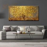 100% hecho a mano grande moderno de la lona pintura al óleo cuchillo árbol dorado pinturas para casa habitación Hotel decoración de pared arte