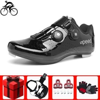 цена Self-Locking cycling shoes Bicycle Anti-slip Breathable Sapatilha Ciclismo Men Sneakers Women Road Racing Athletic Bike Shoes онлайн в 2017 году