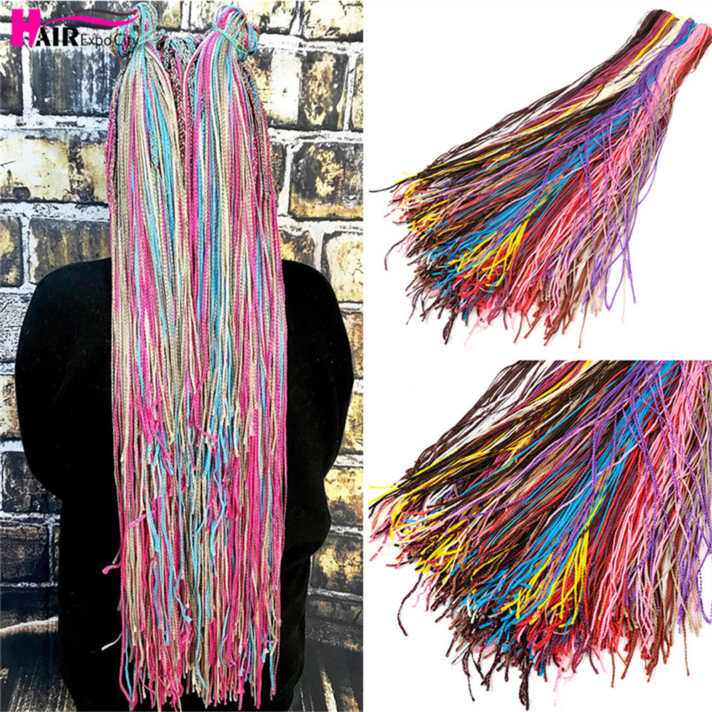 "34"" Box Braids Hair Extensions Synthetic Zizi Box Braids Crochet Hair Long Micro Braiding Hair 24 Strand/Pack Hair Expo City"