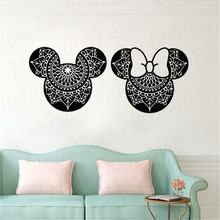 Minnie Mouse Vinyl Wall Stickers For Babys Room Kids Room Decorative Sticker Mural Wallpaper Wall Decal WL1126 new tom cat jerry mouse wall art decal pvc material stickers wall decals for kids room vinyl wall sticker mural wallpaper