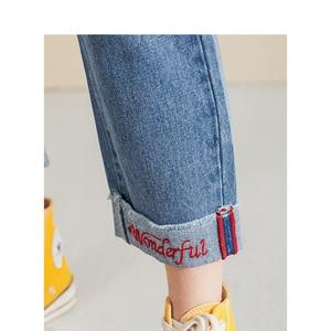 Image 4 - インマンスプリング秋冬文学すべて一致弾性ミディアムウエストルーススリム刺繍英語の手紙女性のジーンズ
