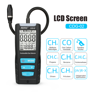 цена на LCD Gas Analyzer Meter Automotive Combustible Gas Sensor Detector Air Quality Monitor Gas Leak Detector  with Sound Shock Alarm