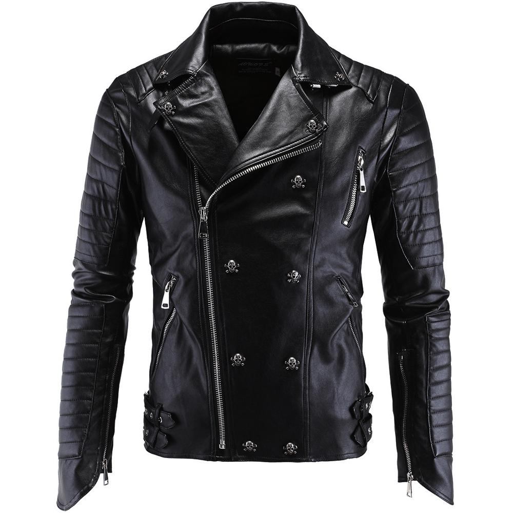 2020 Fashion Punk Leather Jacket Men New Skull Motorcycle Leather Jackets Multi Zippers Slim Fit Men Outwear PU Clothing M-5XL
