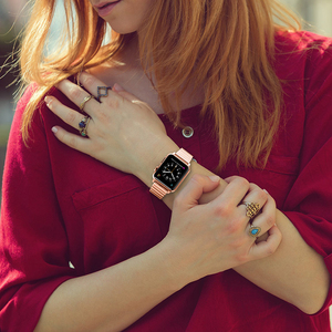 Image 5 - Edelstahl strap für Apple Uhr band 44/40mm iWatch band 42mm/38mm Schmetterling schnalle metall Armband Apple uhr 6 SE 5 4 3