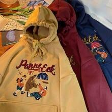 Algodão hip-hop street hoodie senhoras 2020 outono e inverno novo casual solto selvagem hoodie feminino grosso bordado hoodie