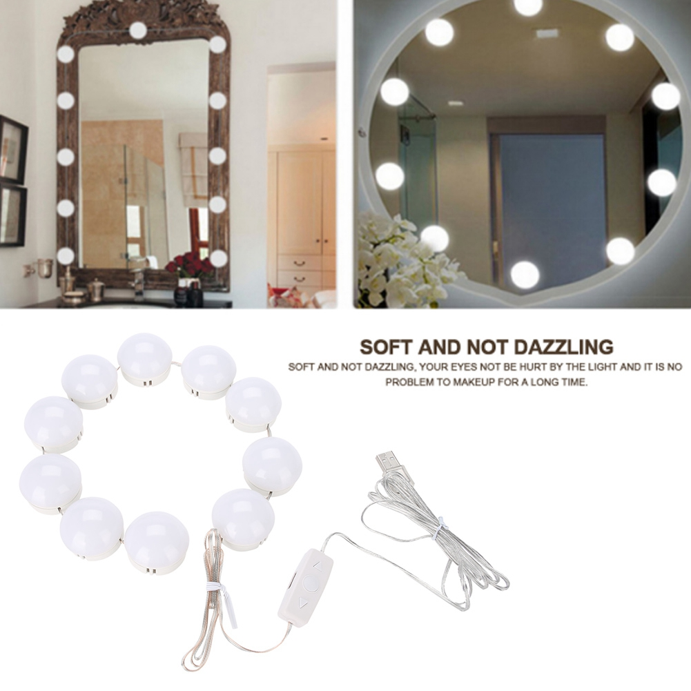 Stylish LED Makeup Mirror Lights Dimmable Bulb Warm/Cold Tones Cosmetic Wall Lamp Dressing Table Mirror Decorative