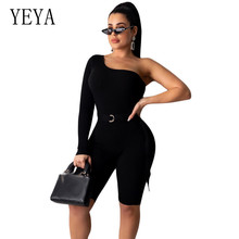 YEYA New Bodycon Short Jumpsuits Women Sexy One Shoulder Long Sleeve Kintting Rompers Elegant Hollow Out Overalls Retro Playsuit