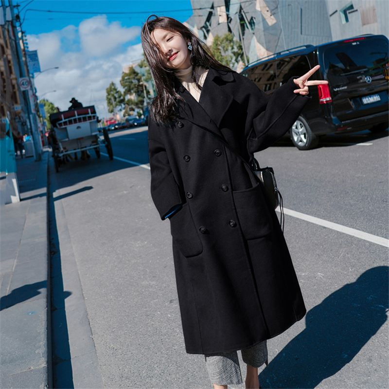 Large Size 2019 Fashion Women Winter Jacket Wool Coat Female Long Paragraph Long Sleeve Coat Thick Woolen Blends Outwear 4