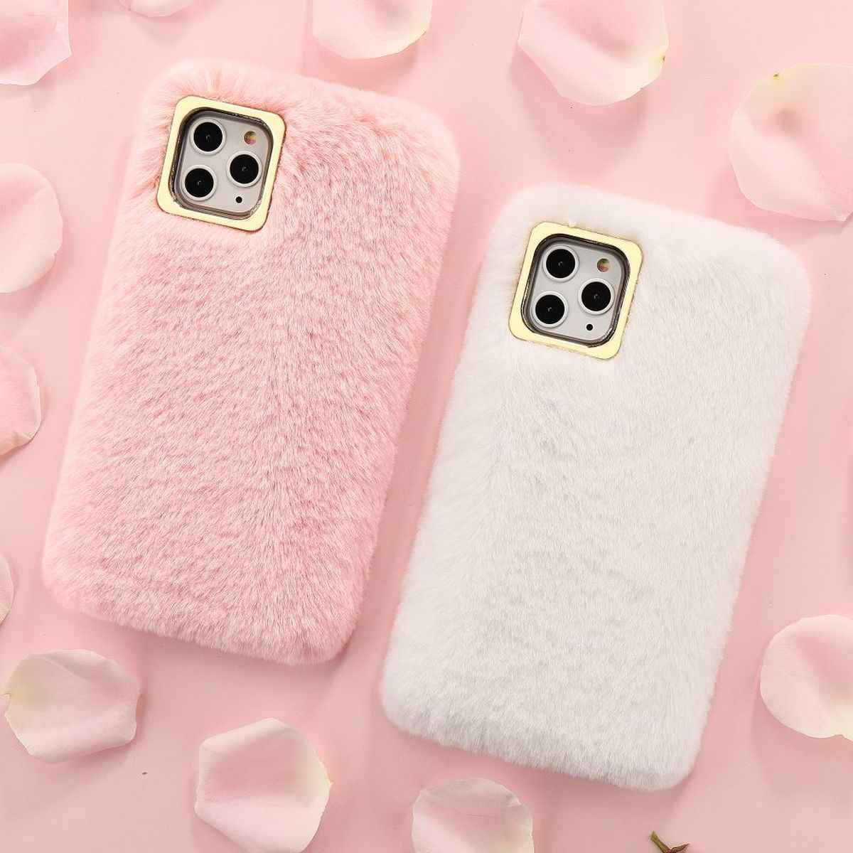 LCHULLE Cases for Apple IPhone 11 Pro  XR XS MAX X 6 6S 7 8 Plus 5 5S SE Cute Furry Fluffy Soft Rabbit Fur Hair Lovely Cover