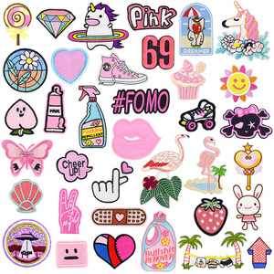 Cute Cartoon Embroidery Badge Patch for Clothing Unicorn Diamond Iron On Appliques Clothes Accessories for Children Decals 1 PCS