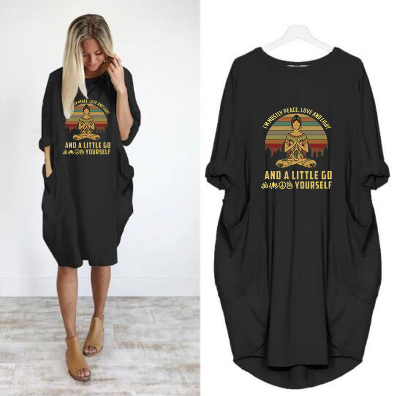2020 mode T-Shirt pour femmes poche je suis surtout la paix amour bonheur rétro bouddha Namaste T-Shirt hauts graphiques t-shirts femmes