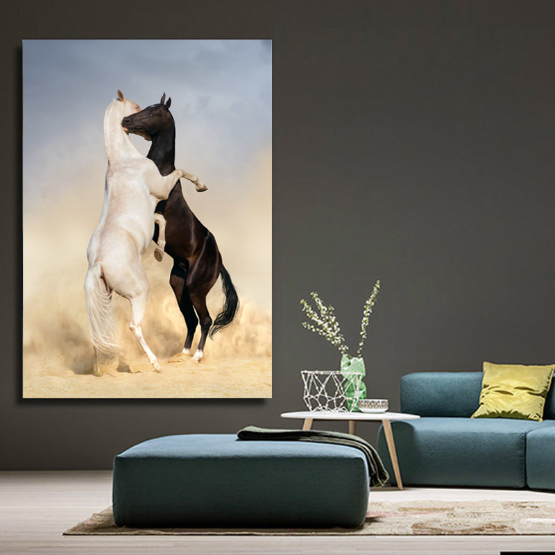Modern Minimalist Black and White Animals Canvas Paintings Jumping Cool Horse Prints Posters Wall Pictures Living Room Decor (4)