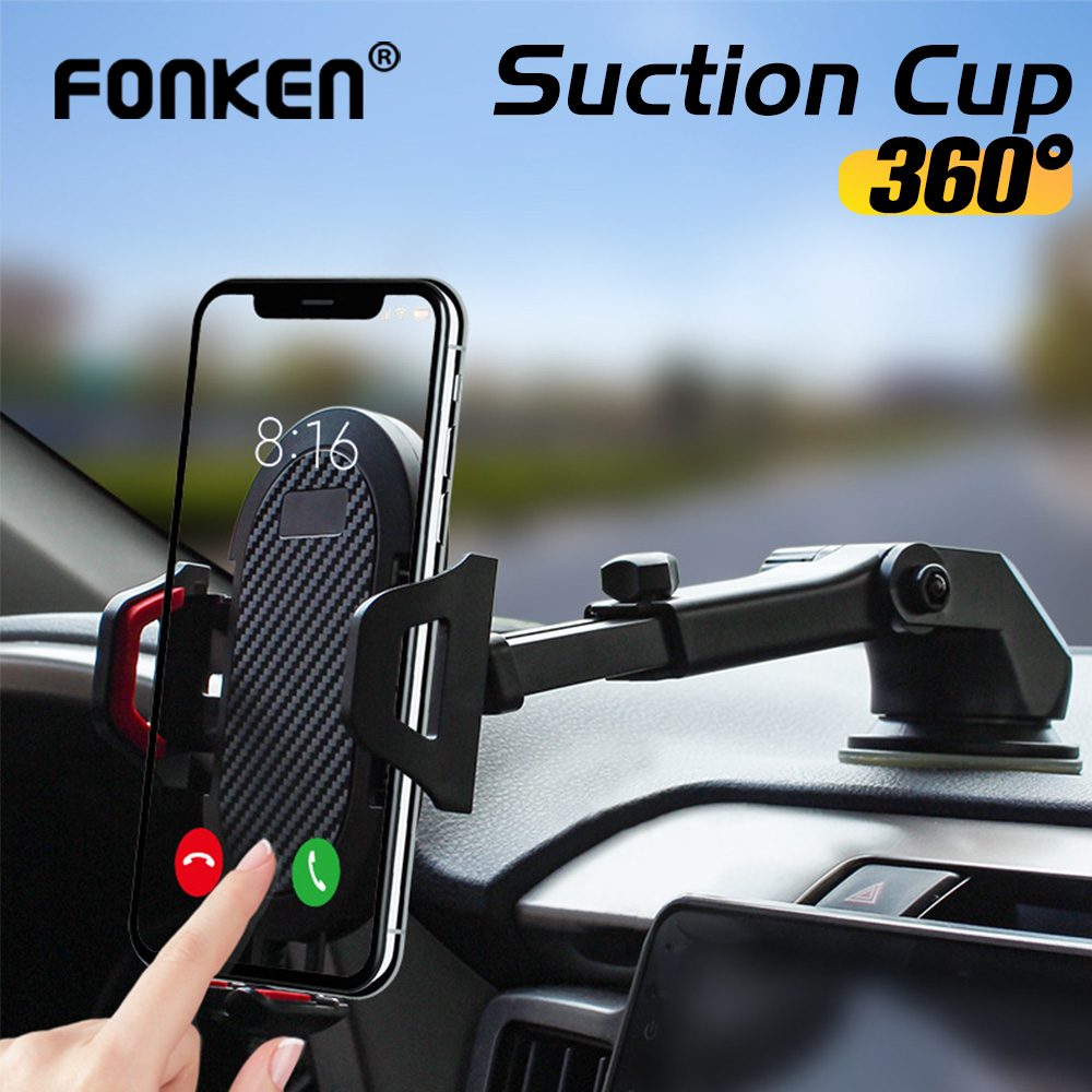 FONKEN Adjustable Car Phone Holder For Mobile Phone Sucker Phone Stand  In Car Clip Air Vent Mount Phone Support For Xiaomi  8 9