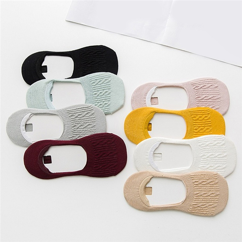 5 pairs/bag Fashion Boat Socks Summer And Autumn Non Slip Silicone Invisible  Ankle Socks Japanese Twist women's Socks