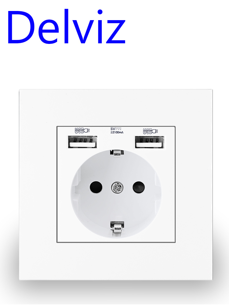 Usb-Power-Socket Outlet Panel Wall-Embedded Bedroom EU Delviz AC Double-Usb Standard