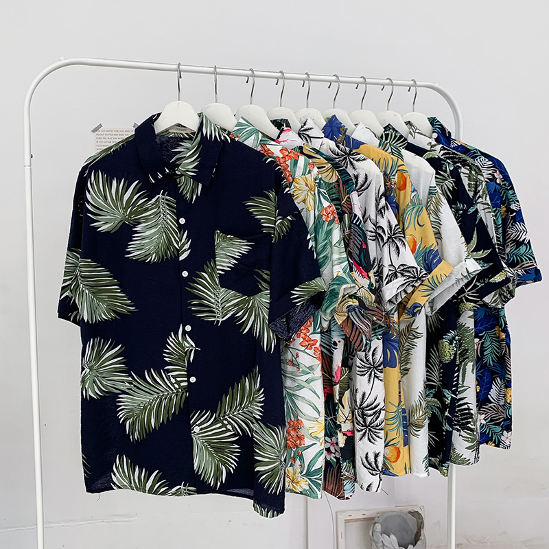 2020 New Men's Flower Printed Shirts Male Short Sleeve Floral Shirt Men Basic Tops Casual Shirts Plus Size M-5XL