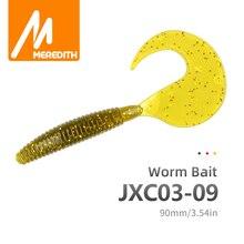 MEREDITH Grub Artificial Fishing Lures 90mm 4.4g 10pcs Fishing Soft Baits Predator Tackle Worm Wobbles Soft Lures