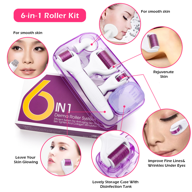 6 in 1 Microneedle Derma Roller Kit Titanium Dermaroller Micro Needle Facial Roller Skin Care For Skin Care and Body Treatment 5