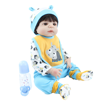 55CM Soft Silicone Body Reborn Baby Boy Doll Toy For Girl Lifelike Vinyl Newborn Alive