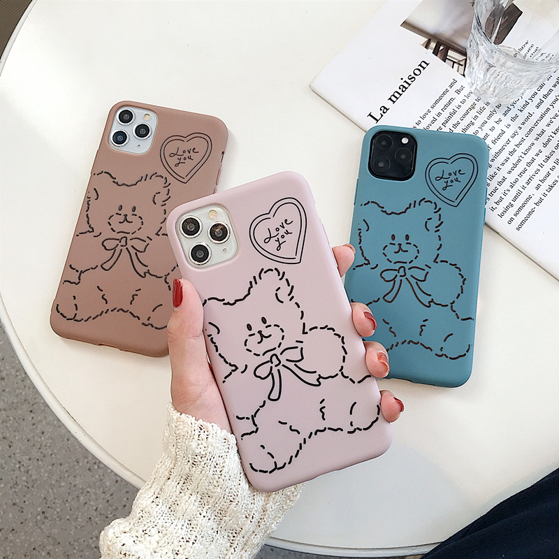 Cute Cartoon Bear Soft Silicone Phone Case For iphone 11 Pro Max Cases X XS Max XR 7 8Plus Candy Color Bear Pattern Matte Cover
