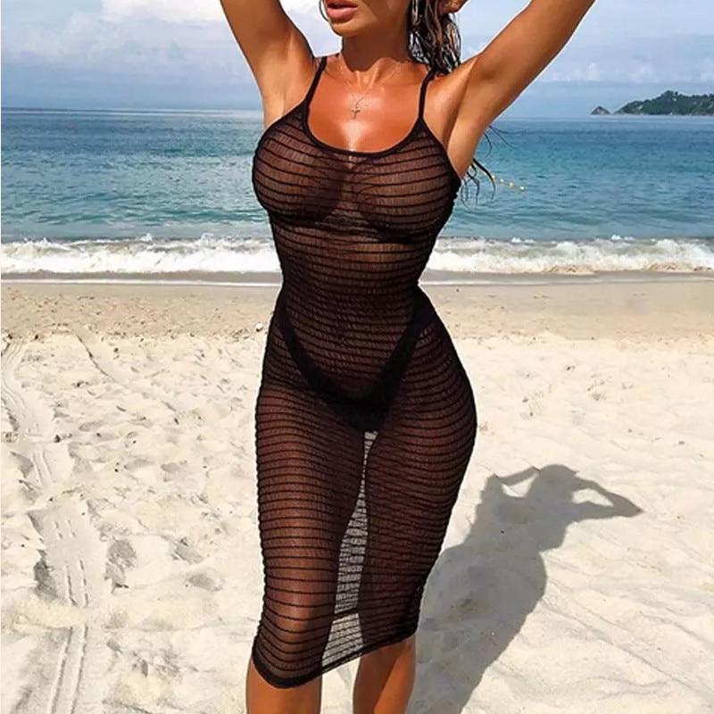 Women Striped Transparent Cover Up Bikini Sexy Summer Crochet Bathing Suit Swimwear Cover Up Beach Dress Maillot De Bain Femme