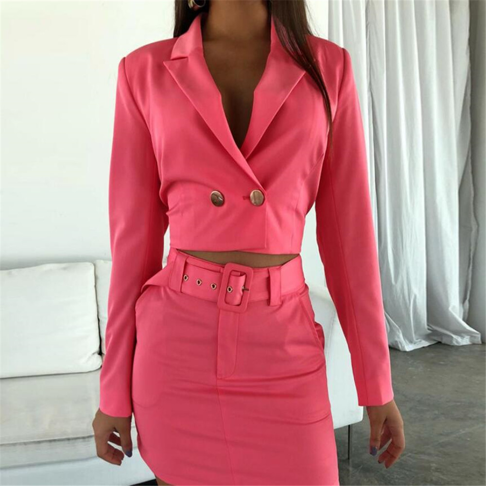 Long Sleeve Button Notched Blazer Cropped Jacket Skirt With Belt 2 Pieces Set OL Sets Autumn Winter Women Streetwear Outfits