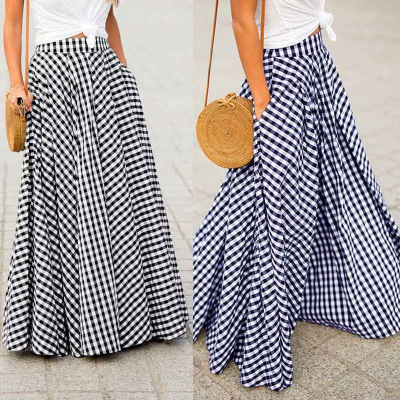Women's Skirts 2019 ZANZEA Vintage Plaid Check Long Skirt  Zipper Pleated Faldas Bohemian Jupe Femme Casual Pockets Maxi Skirts