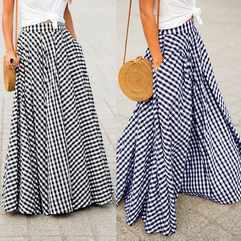 Women's Skirts 2020 ZANZEA Vintage Plaid Check Long Skirt  Zipper Pleated Faldas Bohemian Jupe Femme Casual Pockets Maxi Skirts