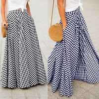 Women's Skirts 2019 ZANZEA Vintage Plaid Check Long Skirt Zipper Pleated Faldas Bohemian Jupe Femme Casual Pockets Maxi Skirts