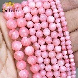 Cuentas sueltas de concha de agua dulce rosa, cuentas redondas de piedra para fabricación de joyería DIY, pulsera, pendientes, accesorios, 15 ''4/6/8mm
