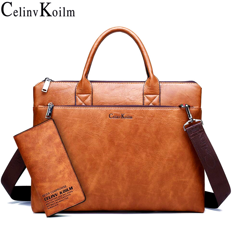 Celinv Koilm High Quality Men Briefcases Set 14 inch Laptop Business Bags Handbags Leather Office Shoulder Bags Large Capacity