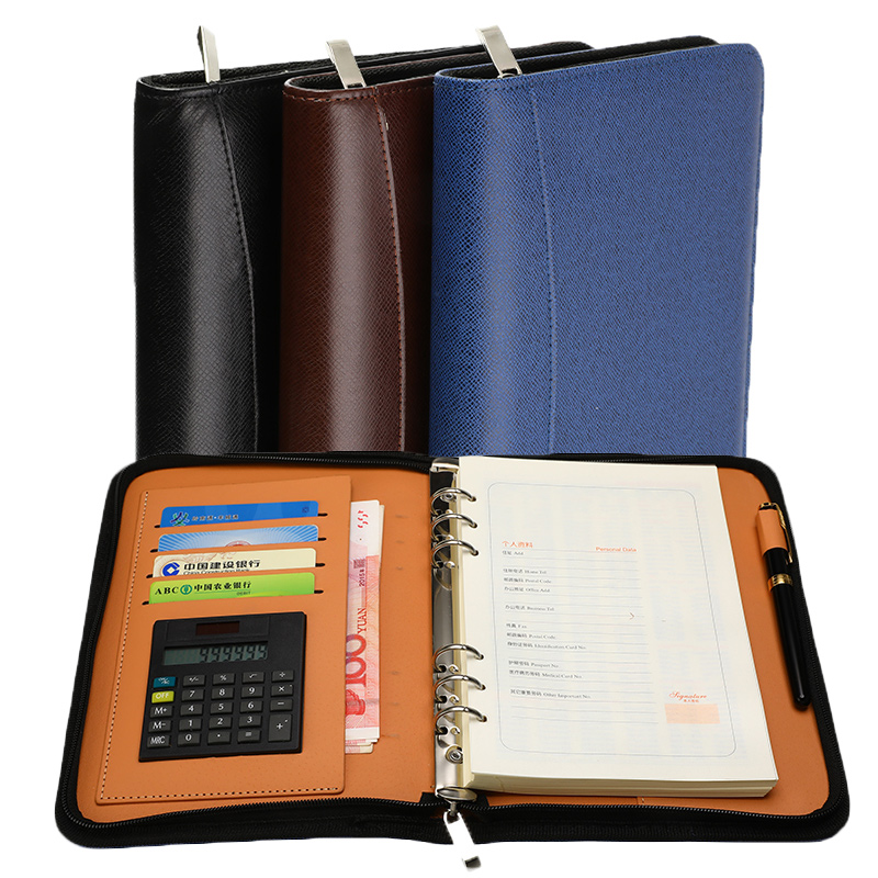 Multifunction A5 Faux Leather <font><b>Notebook</b></font> <font><b>Personal</b></font> <font><b>Spiral</b></font> Dairy Planner Organizer Notepad Travel Agenda Folder with Calculator image