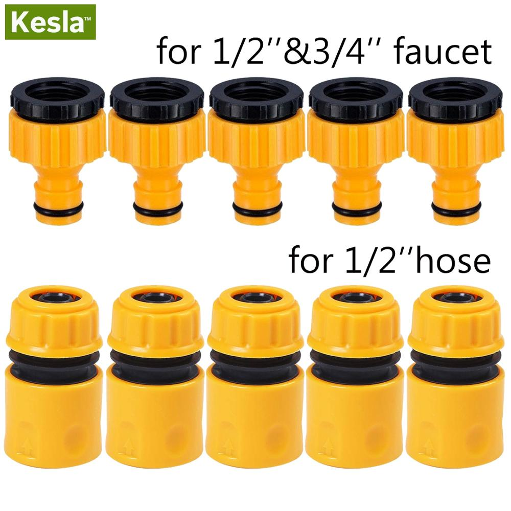10PCS(5PAIRS) 3/4 &1/2 Inch Graden Hose Tap Connector Threaded Faucet Adapter & Quick Connect Fitting For 1/2 Hose Pipe Tubing